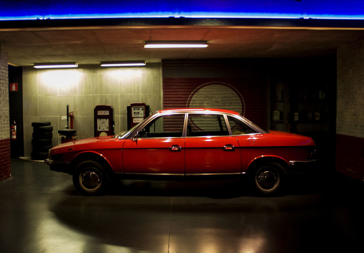 Car Illuminated Land Vehicle Night No People Parking Garage Red Transportation