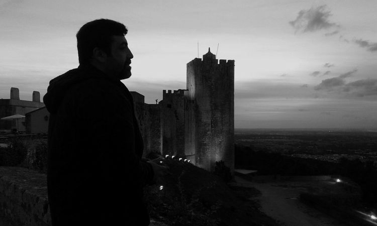 Palmela CastleArchitecture Castle History Stone Wall Monochromatic Monochrome People Photography Black And White Photography Shooting Strangers Historical Monuments Blackandwhite Photography Castelo_de_palmela Street Photography Black&white Street Photography Portrait Photography Photography Themes Real People Profile Photo Portrait Of A Man  The Portraitist - The 2016 EyeEm Awards Black & White Sunset Silhouettes Looking Away The Street Photographer - 2017 EyeEm Awards