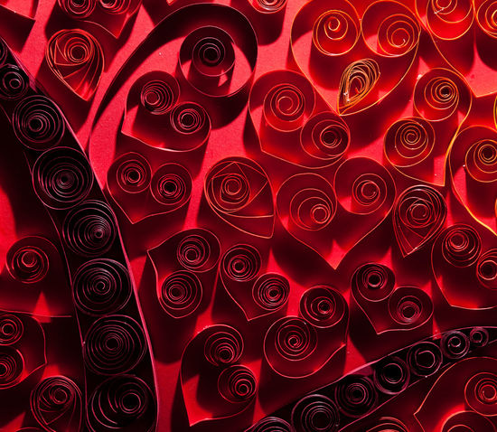Quilling. Pretty red hearts made ​​of twisted paper. Backgrounds Business Finance And Industry Close-up Crumpled Currency Day Full Frame Gambling Chip Heap Indoors  Large Group Of Objects No People Paper Art Pattern Quiling Quilling Red