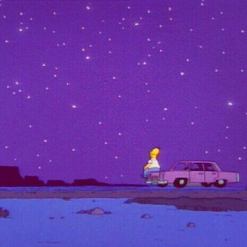 """""""Por que ella se ocultó tras el biombo de nubes.""""(Mario Benedetti) Homero Night Stars Lonely thesimpson nice benedetti poesíe dreams"""