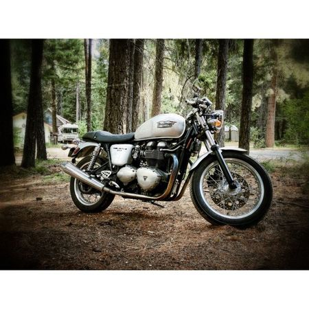 After a wonderful weekend out near Leavenworth with friends, it's time to check out of the cabin. We'll go into town and be tourists for a bit, then I'll begin my ride back over the pass. Can't wait to drink in the air and scenery. Life is truly good. Motorcycle Triumph Thruxton Caferacer roadtrip adventure Leavenworth woods forest vacation retreat