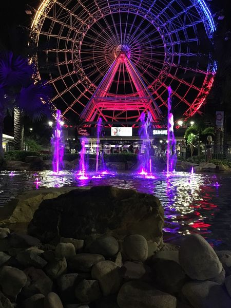 Carnival Ferris Wheel Fountain Nightphotography Observation Point Orlando State Fair Coca Cola Eye Eye Of Orland Fair Fairground Festival International Drive International Landmark Light Show Light Source Night Observation Wheel Ride Roller Coaster Water Fountain