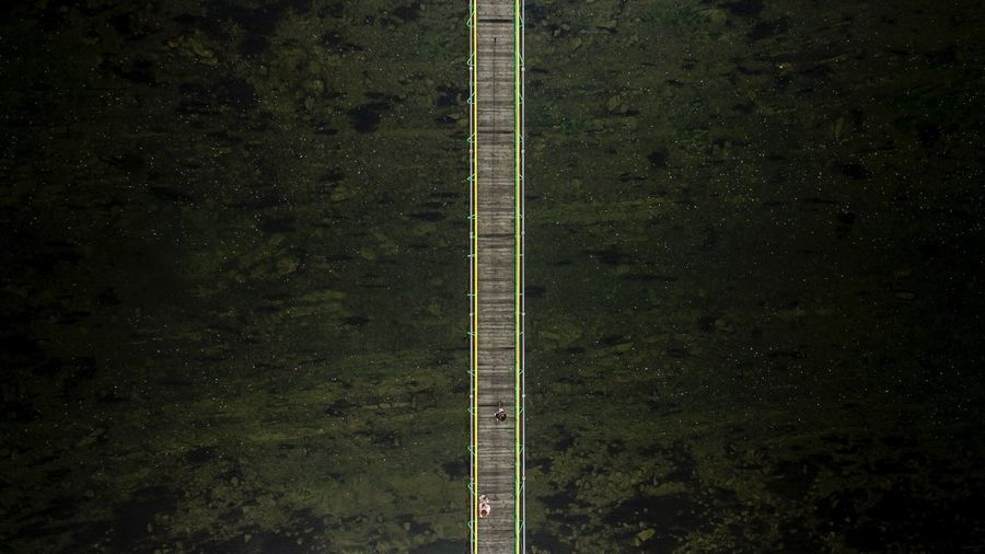Aerial view of wooden footbridge
