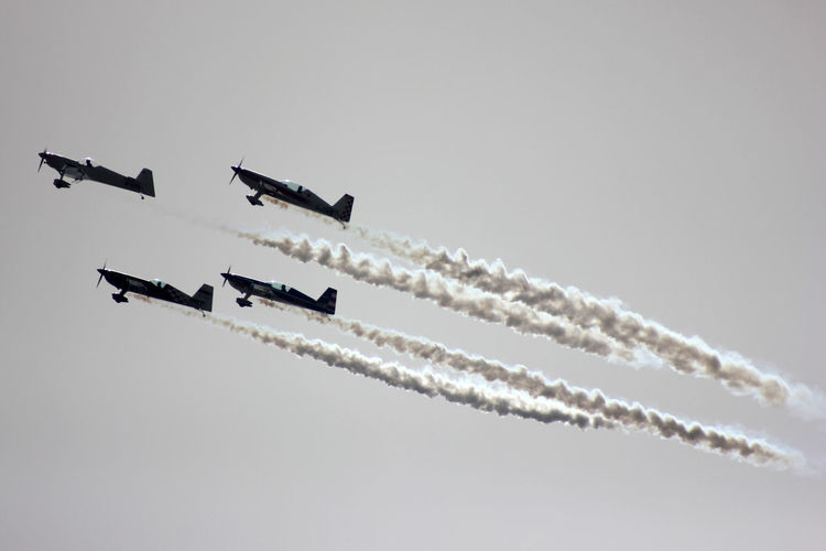 Low Angle View Of Fighter Planes Performing Against Clear Sky