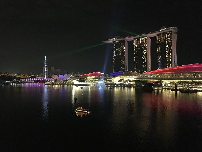 Night Architecture Built Structure Illuminated Travel Destinations Water Building Exterior Transportation Bridge - Man Made Structure Connection Waterfront River No People Outdoors Travel City Modern Skyscraper Sky Marina Bay Sands Singapore RiverCruiser