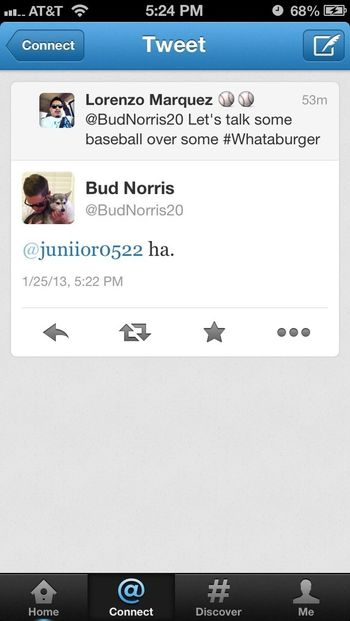A short of a reply to my tweet to #budnorris the #astros pitcher. #baseball #houston