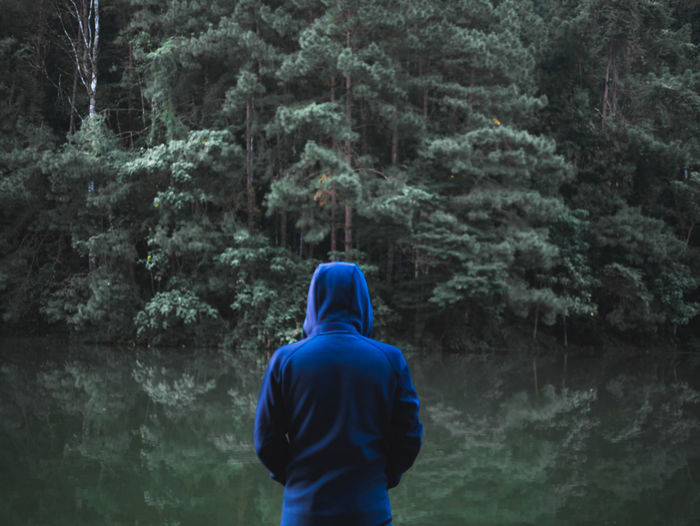man wear blue hood standing front the green forest at pang oung, thailand Tree Rear View Forest Plant One Person Lifestyles Nature Standing Men Hood Hood - Clothing Outdoors Adult Blue Green Color First Eyeem Photo