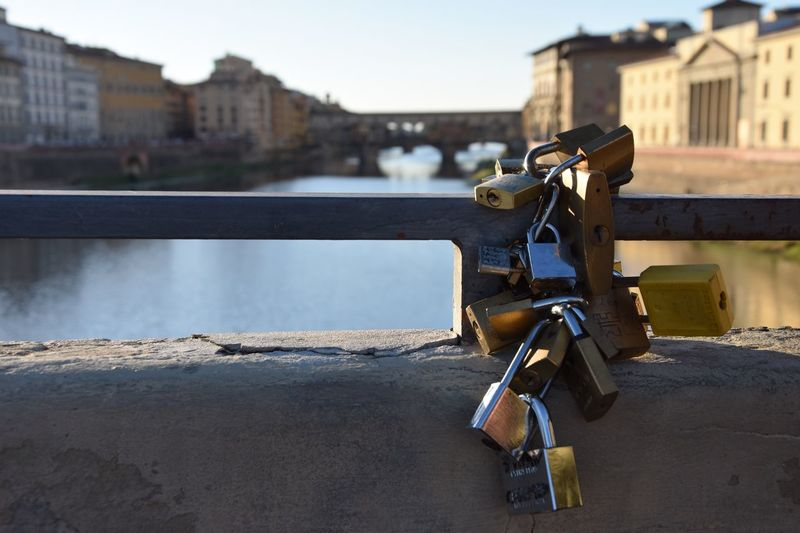 Ponte Vecchio Italian Italy Florence Firenze Makeawish Padlock Lock Architecture No People Built Structure Safety Railing Love Lock Building Exterior Focus On Foreground Outdoors Water Close-up Hanging