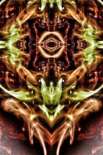 """The Fallen Cyclops"", Fire Portraits by Nawfal Johnson. Abstract Cyclops' Eye Symmetry Illuminated Nawfal Johnson Heat - Temperature Burning Orange Color Inferno Demonology The Fallen Demonic Entities Heaven And Hell Brust To Reign In Hell Fire Portraits Complexity Green Color Backgrounds Textured"