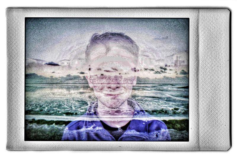 Digital composite image of man against sky