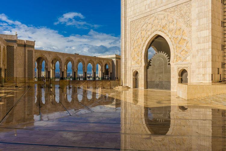 Reflection of hassan ii mosque on flooring