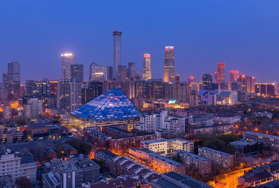 CBD of Beijing China Beijing, China Beijing Building Exterior Architecture Built Structure City Building Office Building Exterior Skyscraper Night Cityscape Illuminated Sky Modern Urban Skyline Tall - High Landscape Dusk No People Tower Office Nature