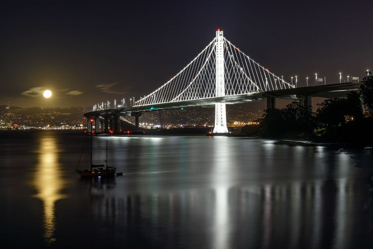 Full moon rising over the new eastern span of the San Francisco-Oakland Bay Bridge at night. Yerba Buena Island, California, USA. Bridge Built Structure Bridge - Man Made Structure Architecture Connection Water Transportation Reflection Illuminated Night Engineering Sky Suspension Bridge Waterfront Travel Destinations City Outdoors Bay Long San Francisco Full Moon Moon Oakland San Francisco-oakland Bay Bridge Eastern Span