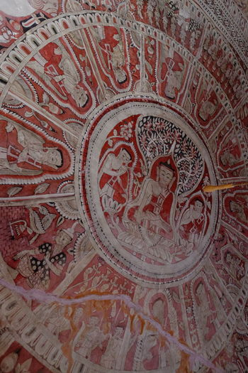 Ceiling Painting in one of the Pakokku Sandstone Caves Ancient Ancient Art Astrology Sign Buddhism Buddhist Art Buddhist Culture Ceiling Design Ceiling Painting Close-up Composition Full Frame Indoor Photography Low Angle View Myanmar No People Old Painting Pakokku Red And White Colour Religion Tourism Tourist Attraction  Tourist Destination Travel Destination