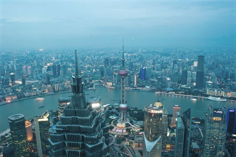 Shanghai Night Cityscape Aerial View City Urban Skyline No People Sky DongfangMingzhu Jinmaotower 3XSPUnity Night View