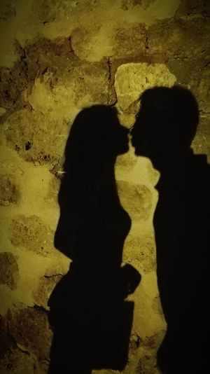 Love Love Romantic Kiss Yellow Shadow Togetherness Silhouette Textured  Close-up Representing