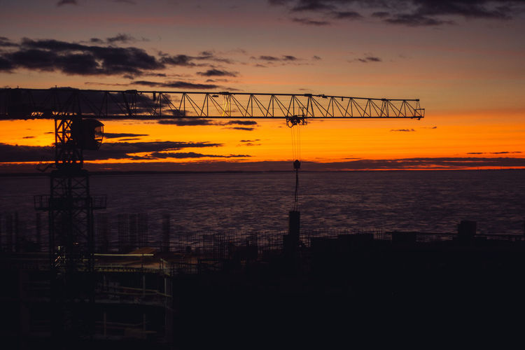 Sunset Sky Orange Color Silhouette Water Cloud - Sky Architecture Sea Nature Beauty In Nature Built Structure Scenics - Nature No People Tranquility Outdoors Tranquil Scene Idyllic Construction Industry Connection Construction Equipment My Best Photo