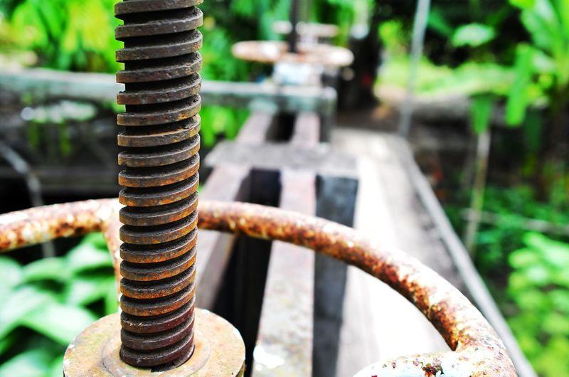 Close-up of rusty valve