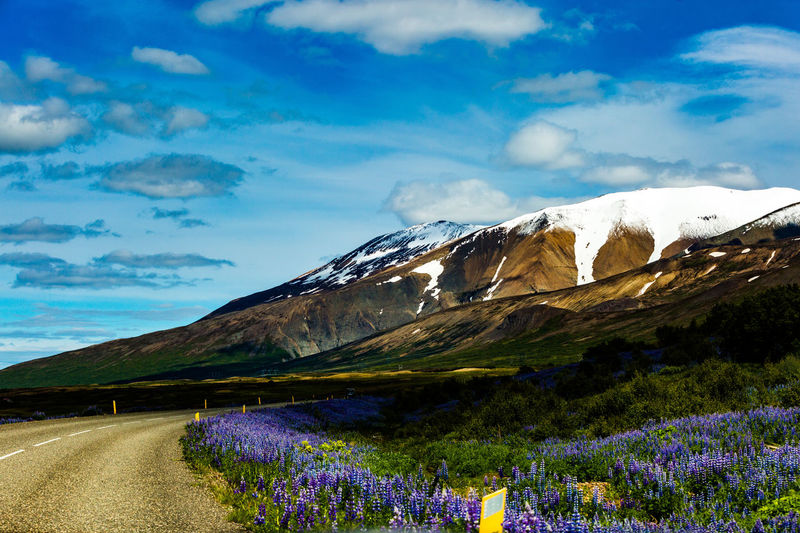 Scenic view of purple mountains against sky