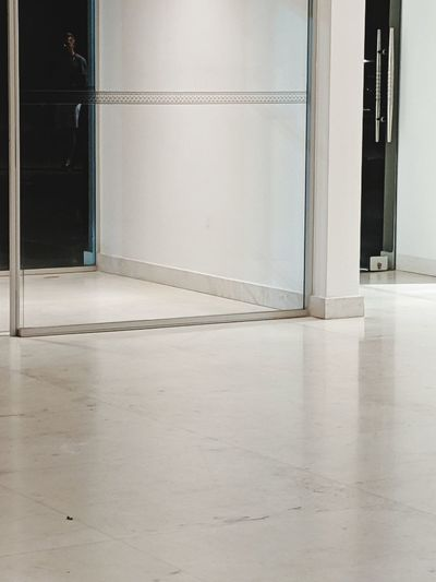 Glass door and silhouette