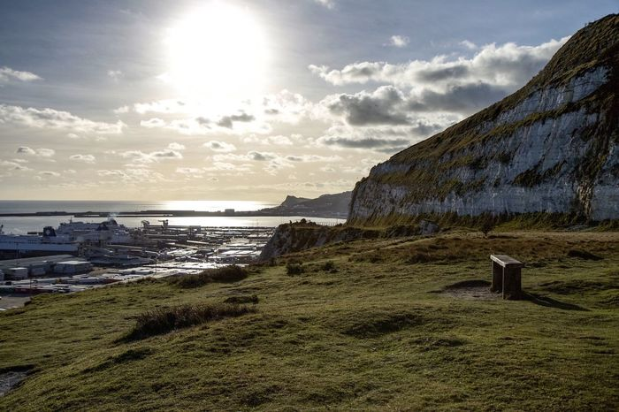 Whitewall EyeEm x WhiteWall: Landscapes Landscape Sea And Sky Harbour Harbour View Dover White Cliffs Of Dover Bench Into The Light Sun Sea View Winter Blue Sky Landscape_Collection Canon 70d