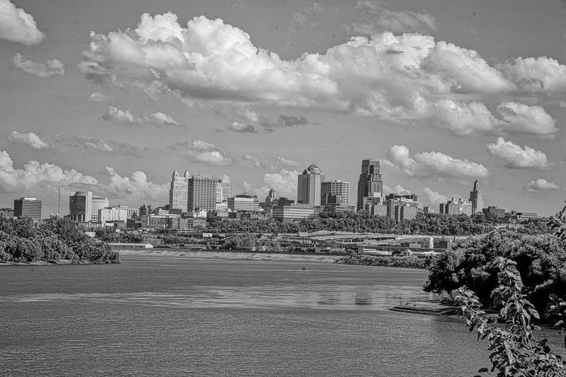 Kansas City Skyline from Kaw Point black and white friday River Architecture Sky Built Structure Building Exterior City Nature Building Day Cloud - Sky Outdoors Land Cityscape No People Landscape Water Travel Travel Destinations Office Building Exterior