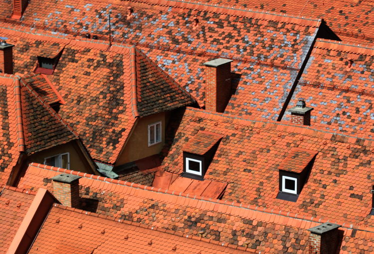 Architecture Austria Building Exterior Built Structure Chymneys Day Full Frame Graz No People Orange Color Outdoors Roofs Steiermark Summer 2016 Tiled Roof