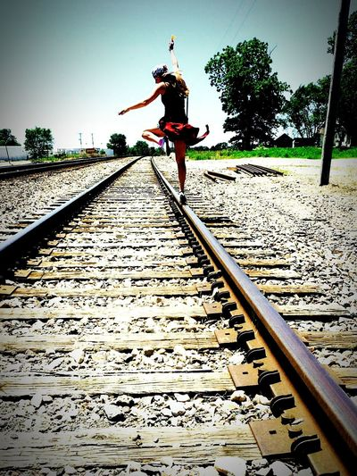 Smile ✌ I LOVE PHOTOGRAPHY EyeEm Best Shots Eye For Photography Outdoor Photography Beautiful Girl Dancing Girl Balance Act Railroad Track My Heart ❤ Love ♥ Daughter Enjoying Nature Love My Family ❤ Carefree