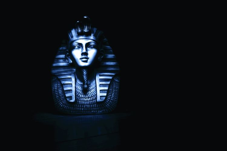 Egypt Sculpture Black Background Dark Human Body Part Adult Futuristic Technology Night Indoors