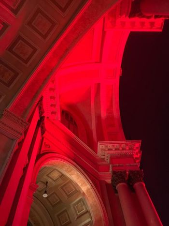 City Illuminated Architectural Column Red Architecture Building Exterior