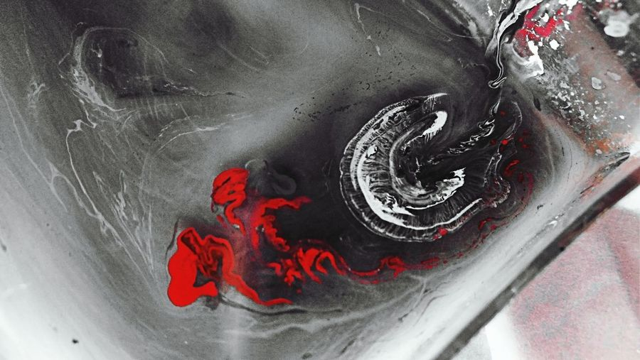 Close up of red art