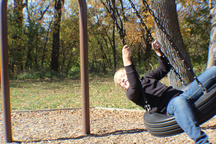 Low angle view of girl in park