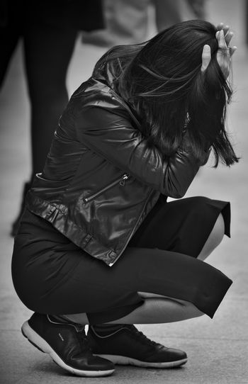 Black & White Black And White Close-up Desperate Desperation Dispair Focus On Foreground Kneeling Kneeling Down One Person Real People Sitting Women Young Adult