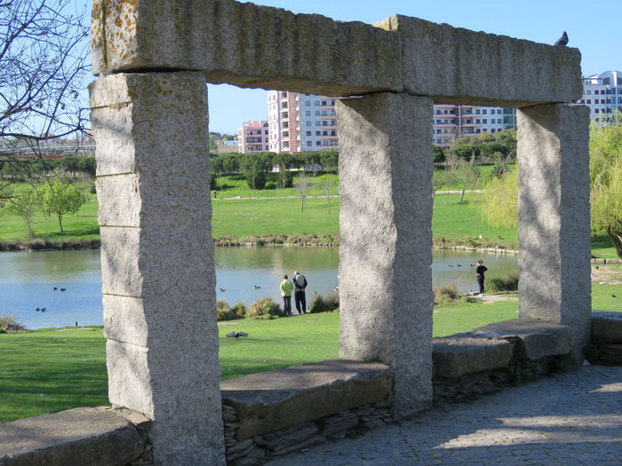 Architecture Blue Sky Day Framed Framed Vision Grass Green Grass Growth Lake Leisure Activity Lifestyles Nature Outdoors Park - Man Made Space People Real People Relaxing Moments Sky Stone Frame Stone Structure Sunny Day Tranquil Scene Tranquility Tree Water Long Goodbye EyeEm Diversity EyeEmNewHere