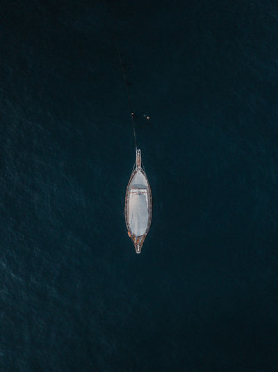 Aerial View Of Ship Sailing In Sea