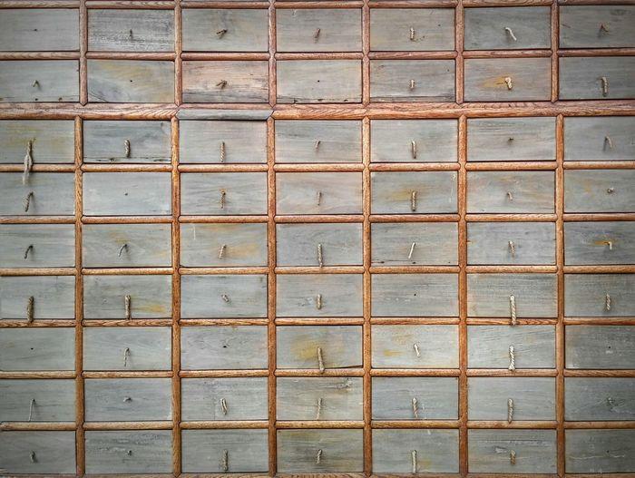 Full Frame Of Wooden Drawers