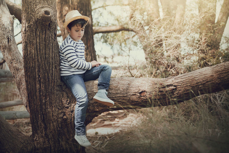 Dreaming Field Innocence Love Nature Reflection Solitary Thinking Tree Trunk Child Childhood Expression Illusion Landscape Nature Nostalgic  Portrait Sad Sadness Serious Shyness Sitting Thoughtful Tree