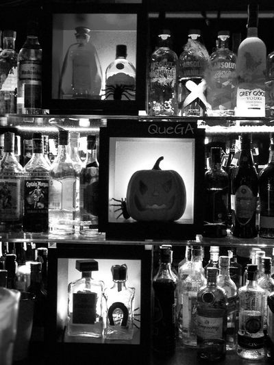 Halloween on b/w Night Bar - Drink Establishment Taking Photos Mobilephotography From My Point Of View Eyem Best Shot - My World Moments Of Life Lights And Silhouettes Halloween Decorations
