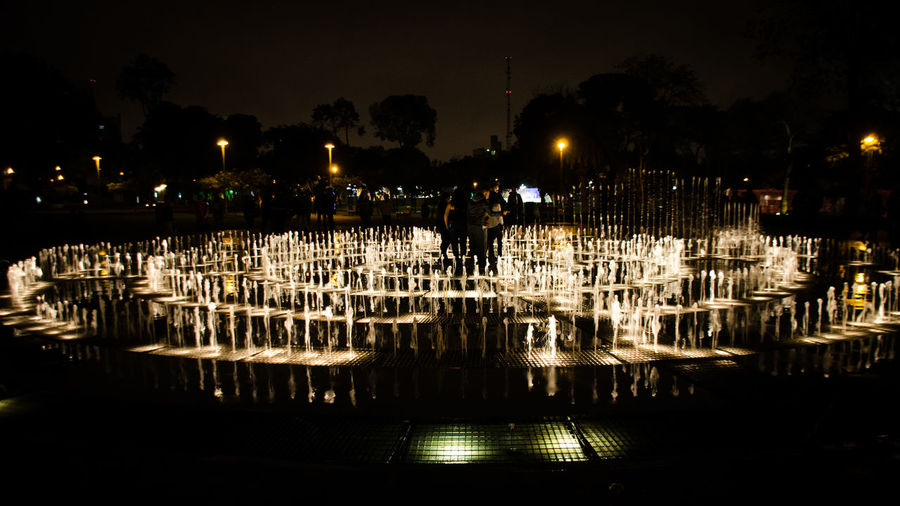 Parque de las Aguas Fuente❤Agua Lima Lima-Perú Nature Night Lights Nightphotography Water Reflections Fontain Illuminated Nautical Vessel Night No People Outdoors Reflection Sky Water Water_collection