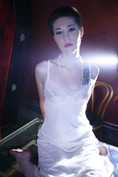 Asian Girl Beautiful Woman Beauty Bride Elégance Fashion Glamour Indoors  Light And Shadow Lingerie Looking At Camera One Person One Young Woman Only Portrait Short Hair Vintage White Color Young Adult