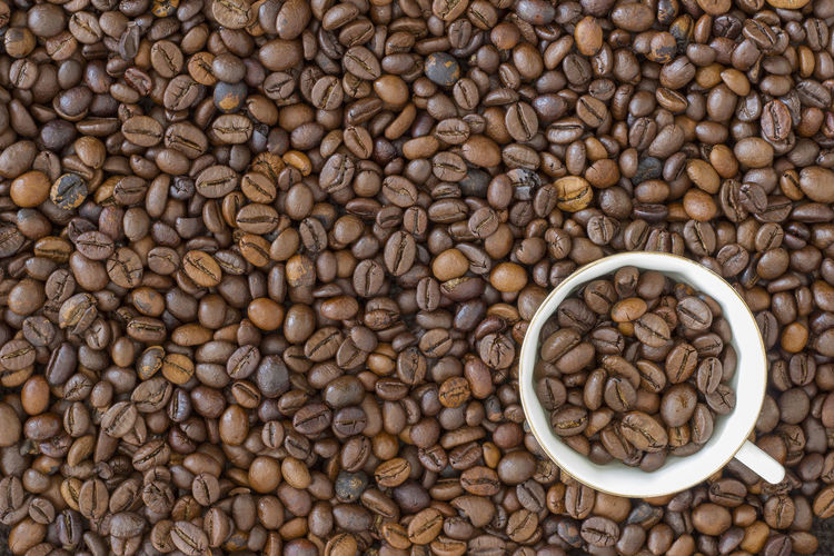 Directly above shot of roasted coffee beans