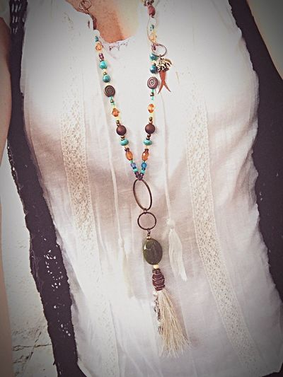 Handmade Doghairstudio Gypsylife Boho Chic Necklace For Sale