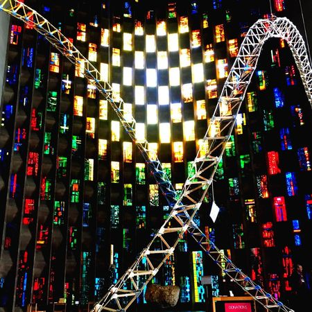 Illuminated Night Multi Colored No People Outdoors Neon Sky Stained Glass Cathedral Double Helix Coventry Cathedral - UK Coventry Rainbow Rainbow Colors Window Stained Glass Window Religious