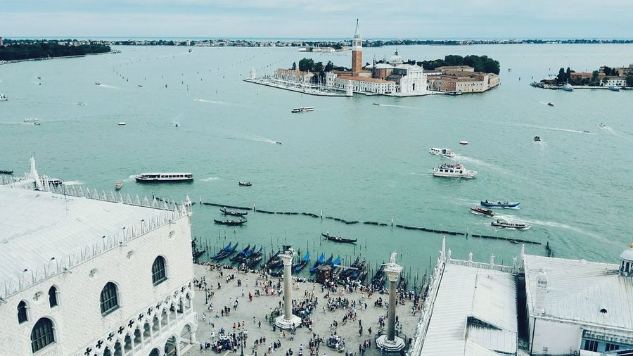 High angle view of st mark square by grand canal