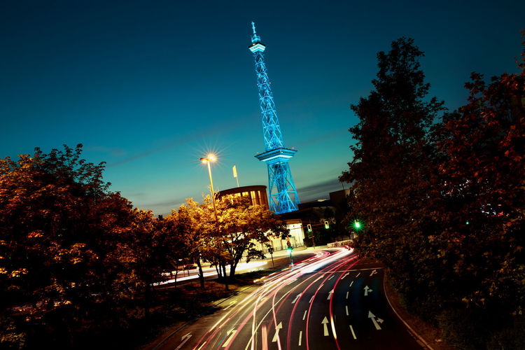 smurf Blue Funkturm // Architecture Berlin Radio Tower Blurred Motion Built Structure Business Business Finance And Industry City Illuminated Light Trail Long Exposure Motion Night No People Outdoors Road Marking Cityscape Speed Street Tower Tradeshow Traffic Transportation Travel Destinations Mobility In Mega Cities Colour Your Horizn