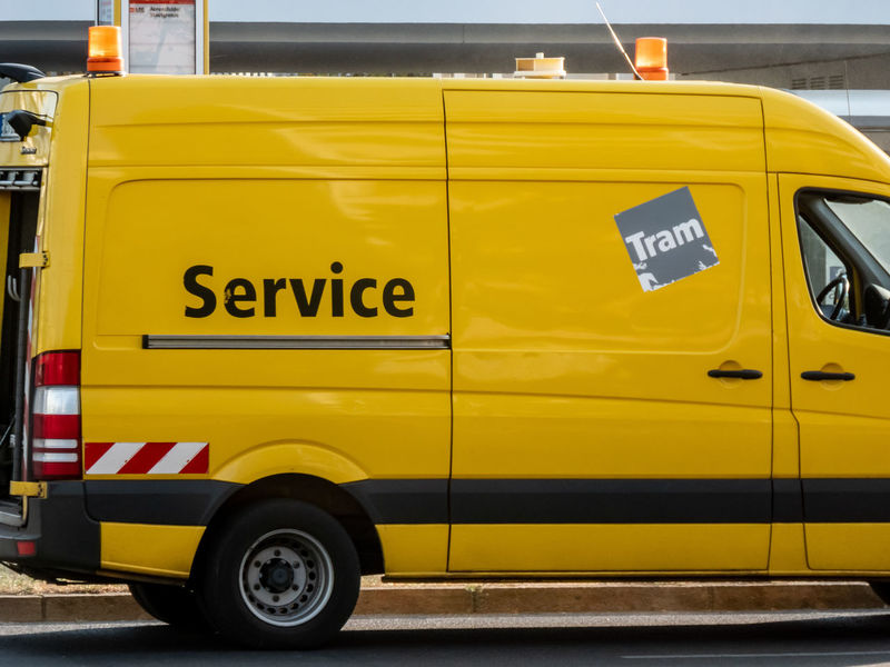 Berliner Verkehrsbetriebe (BVG) special van, vehicle used to repair or lubricate the entire track network of the Berlin tram BVG - Berliner Verkehrsgesellschaft Delivery Delivery Service Delivery Van Service Bvg Car Communication Deliver Delivering Land Vehicle Mode Of Transportation Motor Vehicle No People Outdoors Public Transportation Road Street Text Transportation Truck Van Western Script Yellow