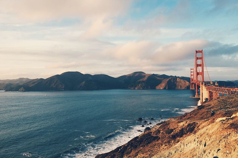 Golden Gate Sea Sky Water Built Structure Outdoors Cloud - Sky Mountain Architecture Connection No People Suspension Bridge Day Beauty In Nature Bridge - Man Made Structure Nature Landscape Golden Gate Bridge San Francisco Ocean