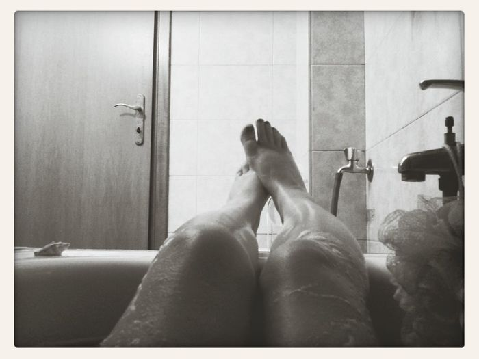 fooling with phone at the bath