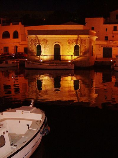 Menorca Baleares Islas Baleares Nightphotography Night Lights Boat Channels Reflections In The Water Reflection_collection EyeEm Gallery House Orange Orange Color Showcase April Ciudadella (Menorca). Ciudadela (Menorca). Learn & Shoot: Balancing Elements Learn & Shoot: After Dark Cities At Night