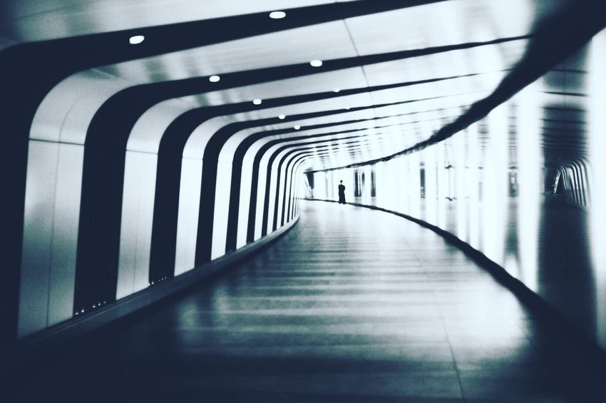 Abstract Abstractart Architecture Black And White Blackandwhite Built Structure Corridor Diminishing Perspective Echo Empty Indoors  Light Light And Shadow Lights Long Narrow Pattern Pedestrian Walkway Shadow Shadows Subway Tunnel Underground Underground Station  Underpass
